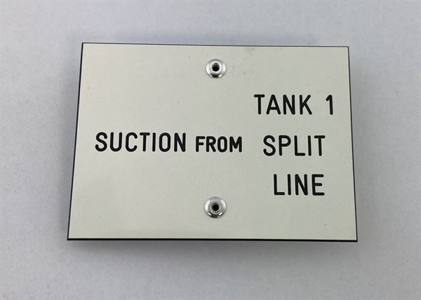 "Suction from Tank # Labels with 2"" Clips (""Split Line"" versions available) - Choose your Tank #'s"